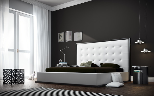 Ludlow II White Leather Queen Size Platform Bed In Wenge Modern Bedroom