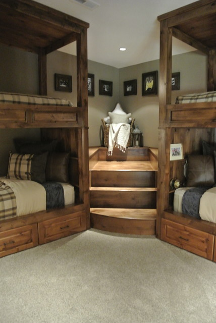 Cool wood bed frames - Luxe Hunting Lodge Rustic Bedroom Other Metro By The Modern
