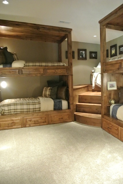 attic remodeling ideas stairs - Luxe Hunting Lodge rustic bedroom