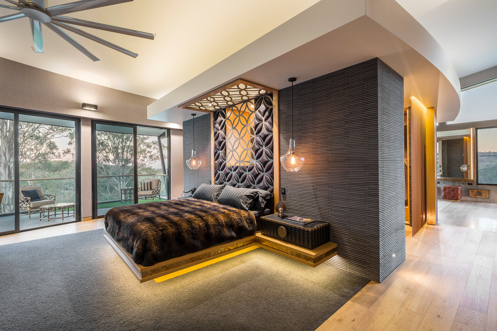 Bedroom - large contemporary master bedroom idea in Brisbane