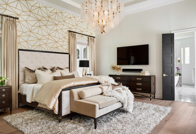 Luxe Master Bedroom with Gold and White Wallpaper Feature ...