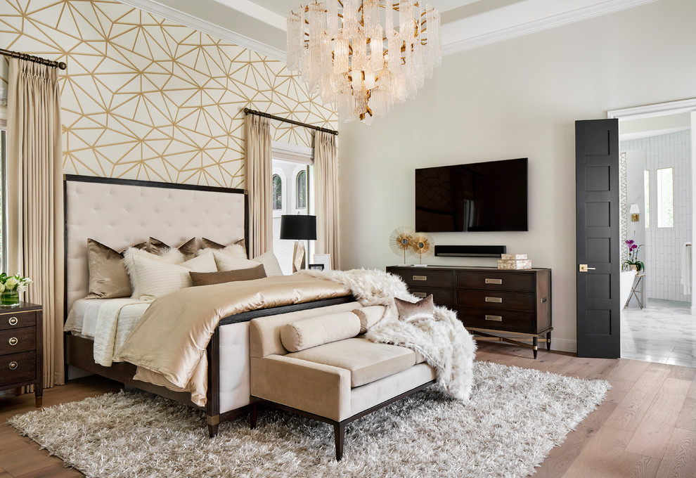 Luxe Master Bedroom With Gold And White Wallpaper Feature