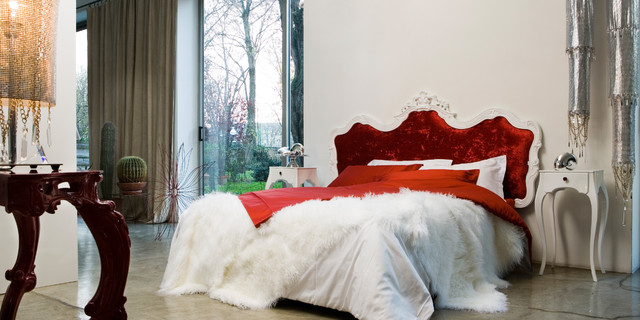 luxury baroque style bedroom with red headboard contemporary-bedroom