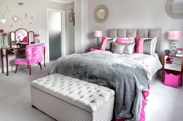 Luxury master bedroom with pink and grey accents - Eclectic ...