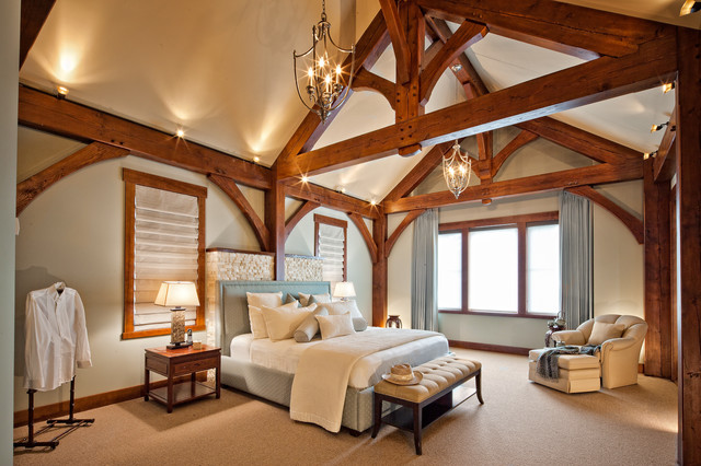 Luxury Timber Frame Traditional Bedroom Vancouver