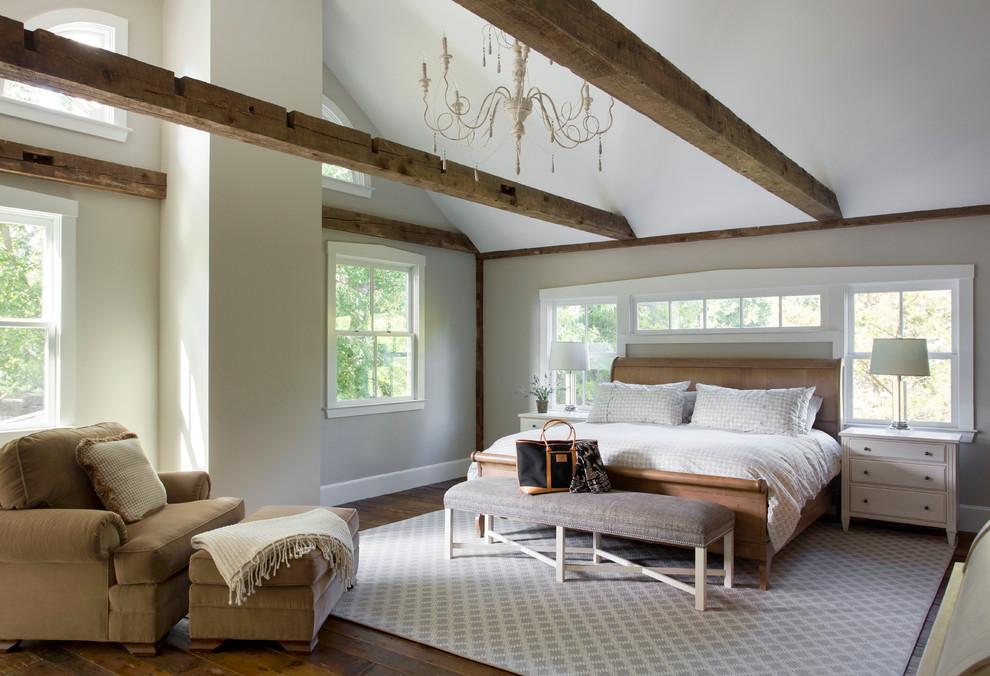 Bedroom - large cottage master dark wood floor bedroom idea in Boston with beige walls