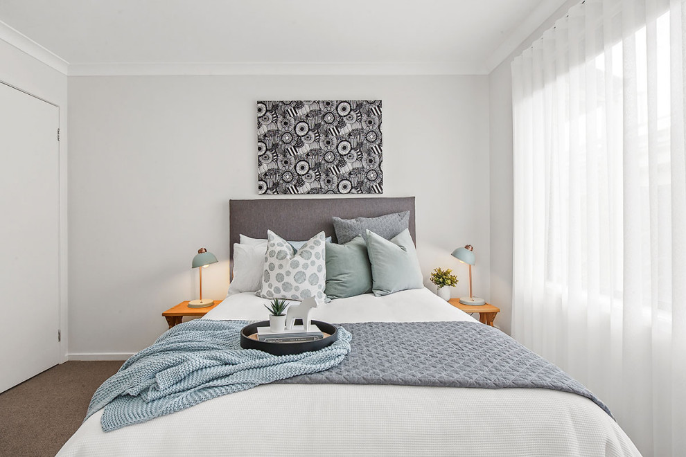 Inspiration for a scandinavian bedroom remodel in Melbourne
