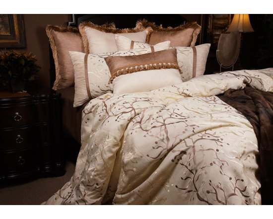 Bedding 2013 - The whimsical branch pattern with the high lights of Champagne undertones sets a romantic tone for the master suit.