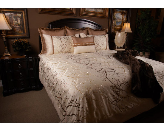 Bedding 2013 - MAJESTIC VINE: The whimsical branch pattern with the high lights of Champagne undertones sets a romantic tone for the master suit.
