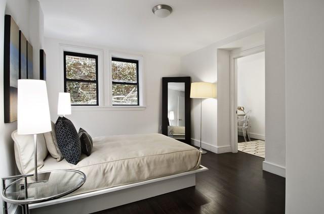 Manhattan tri plex contemporary bedroom new york for Decorating with dark wood floors