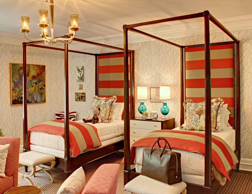 Eclectic guest bedroom photo in New York with multicolored walls