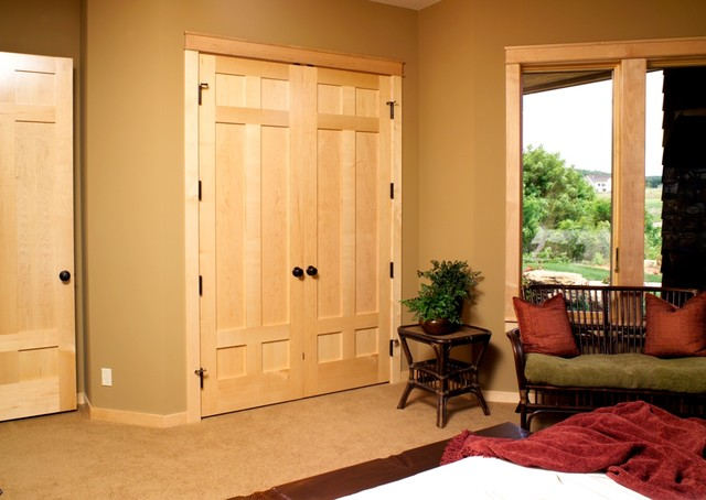 Maple 6 Panel Stile Rail Door With Flat Panels Traditional Bedroom
