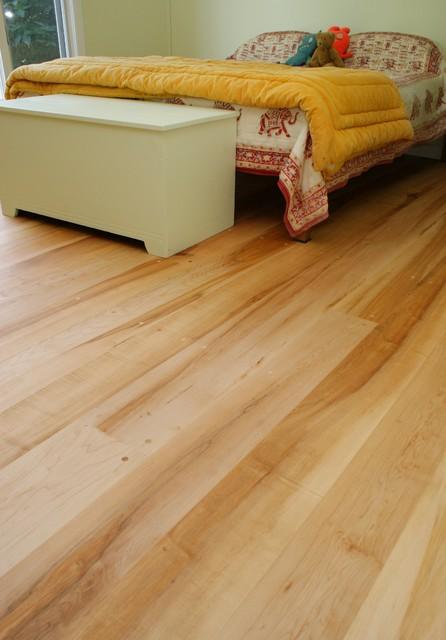 Maple wide plank floors traditional bedroom boston for Hardwood floor dealers