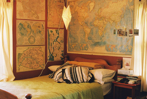 Eclectic Bedroom with maps