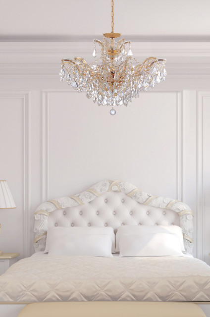 Maria Theresa Gold Crystal Chandelier In White Bedroom