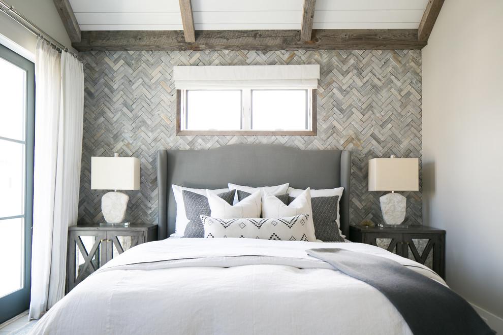 Bedroom - coastal bedroom idea in Orange County with gray walls