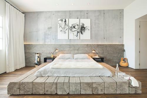 むき出しのコンクリート壁がカッコいいですね。グレーの占める割合は多いですが、全体を淡い色合いでまとめて、とても優しい印象です。