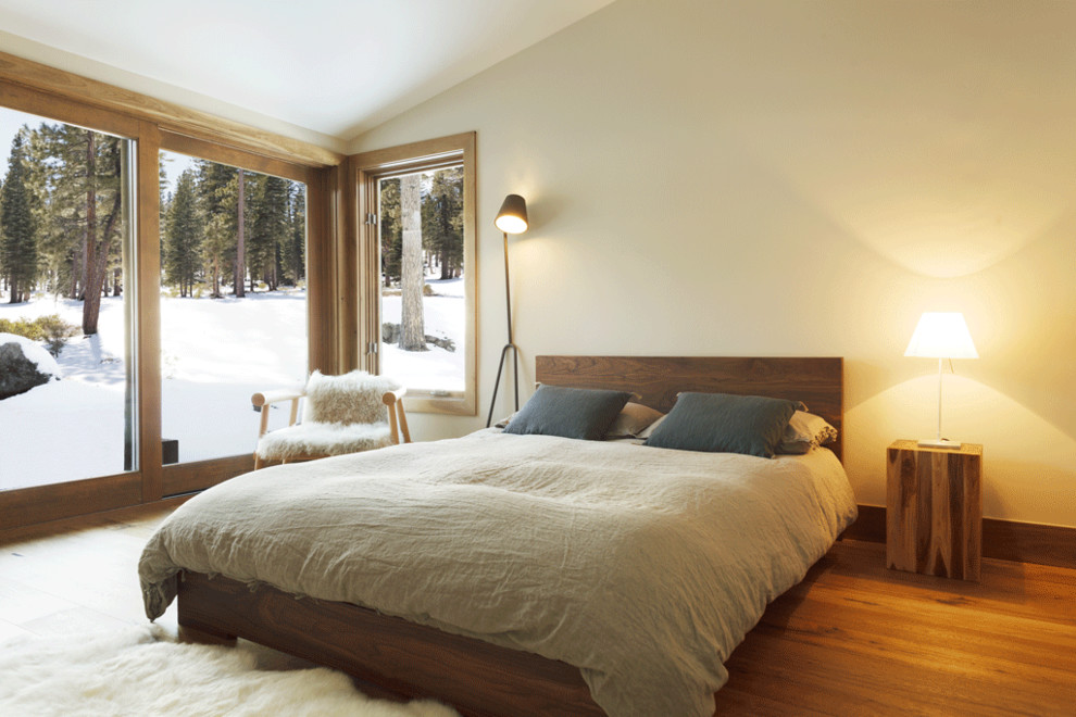 Example of a mountain style medium tone wood floor bedroom design in San Francisco with beige walls