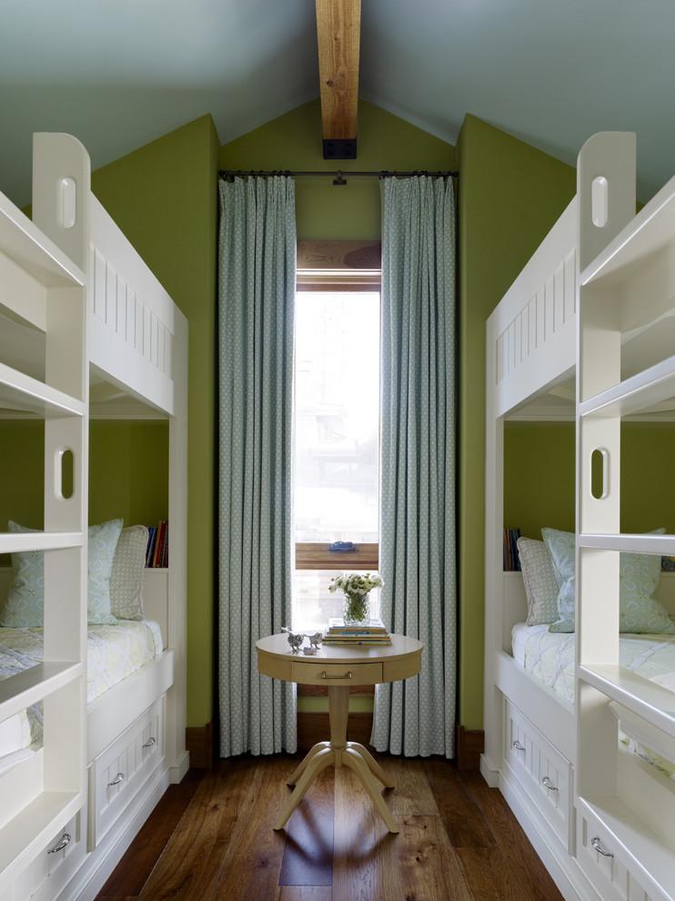 Example of a trendy guest medium tone wood floor bedroom design in San Francisco with green walls