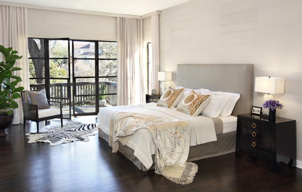 Example of a trendy master dark wood floor bedroom design in Austin