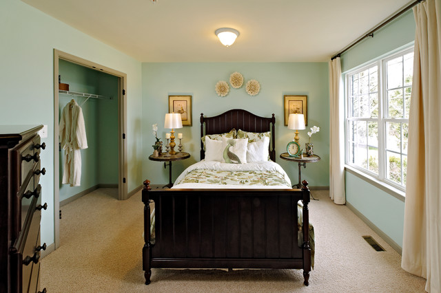 Traditional Guest Carpeted Bedroom Idea In Atlanta With Blue Walls. Save  Photo. Beazer Homes