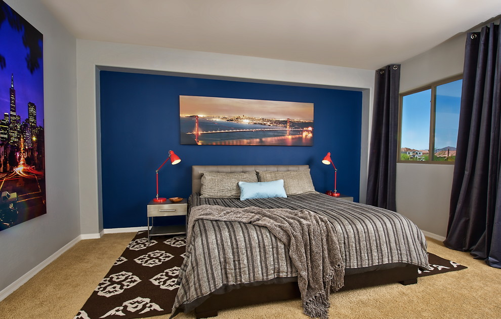 Inspiration for a small contemporary master carpeted bedroom remodel in Phoenix with multicolored walls