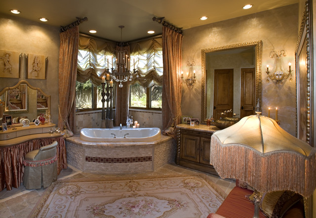 Venetian eclectic french master bathroom mediterranean for Interior design bedroom and bathroom