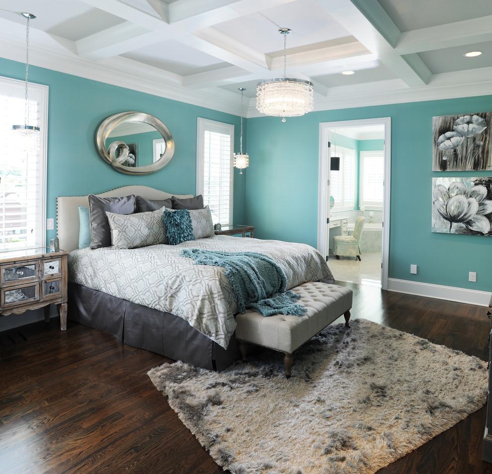 Inspiration for a timeless master dark wood floor bedroom remodel in Nashville with blue walls