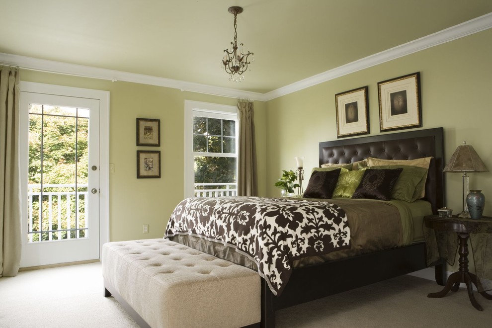 Inspiration for a timeless bedroom remodel in Detroit with green walls