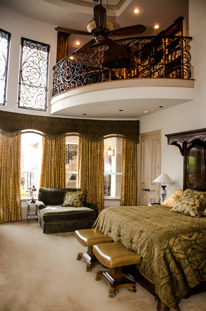 Master bedroom and library traditional bedroom for Bedroom designs with balcony
