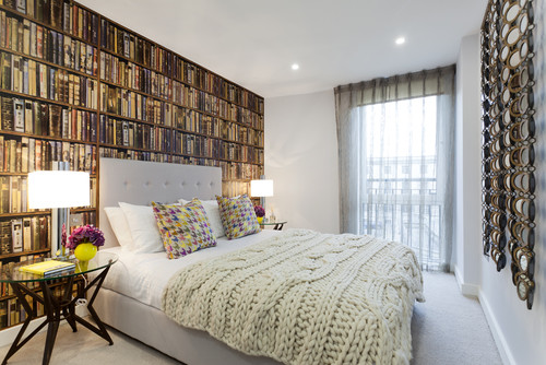 here the texture of a wall to wall bookcase is achieved through the use of wallpaper so clever - Bookshelf Bed Frame