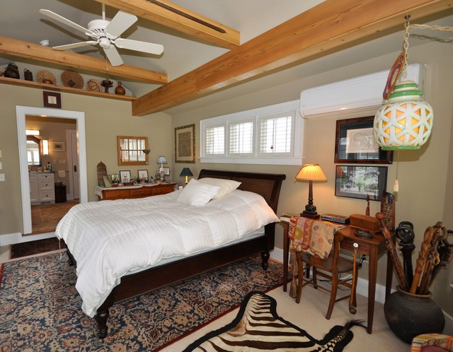 Master Bedroom Bathroom Addition With Vaulted Ceilings And Beams Rustic Bedroom Other By