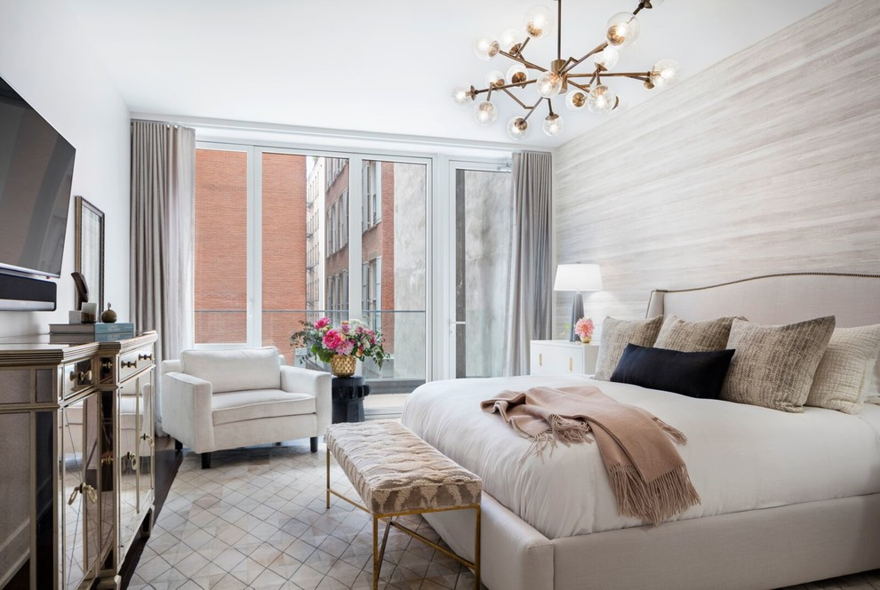 Example of a large transitional master porcelain tile and beige floor bedroom design in New York with beige walls and no fireplace