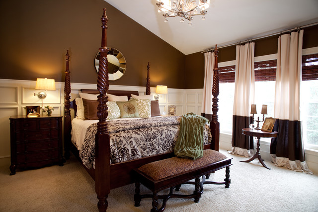 master bedroom cream and brown traditional bedroom