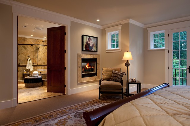 Master bedroom double fireplace in bedroom and bathroom for Master bedroom fireplace