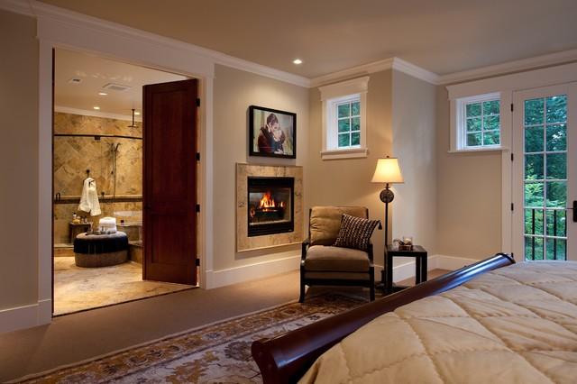 Master Bedroom Double Fireplace In Bedroom And Bathroom