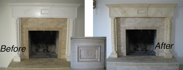 Master bedroom fireplace mantel travertine faux finish - Paint finish for bedroom ...