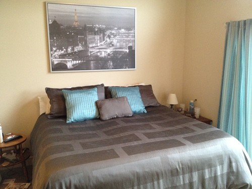 What Would Be A Good Color For An Accent Wall Behind The Bed The Bedding Is Slate Gray With