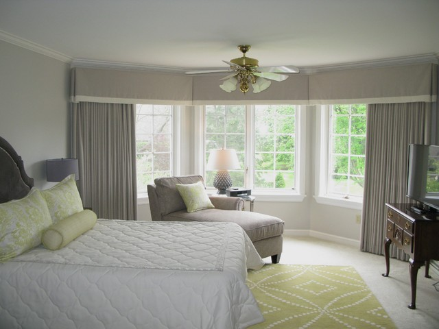 Master Bedroom In Gray And Green Transitional Bedroom Other Metro By The Drapery Boutique