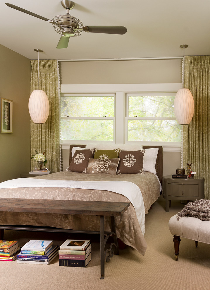 Inspiration for a transitional master carpeted and beige floor bedroom remodel in Minneapolis with beige walls