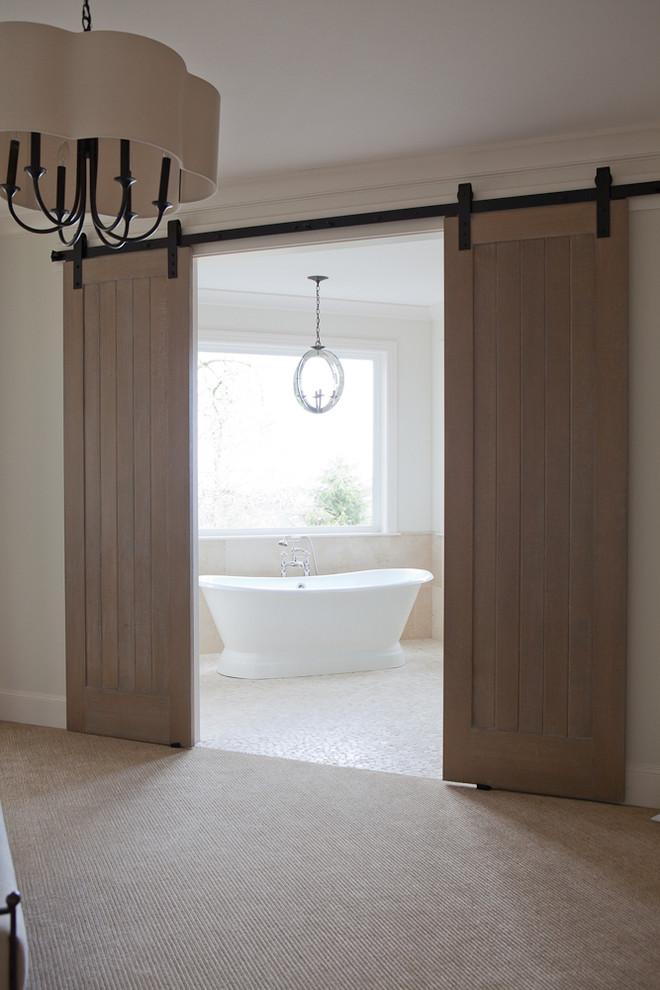 Elegant carpeted bedroom photo in Portland