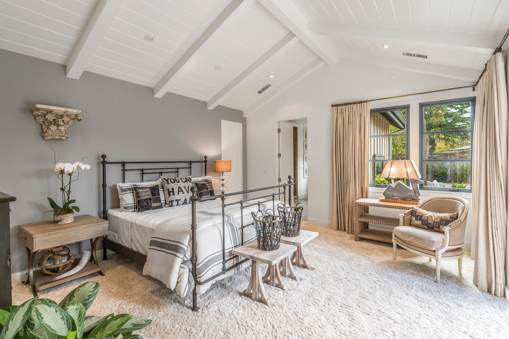 Bedroom - country carpeted bedroom idea in San Francisco with gray walls and no fireplace