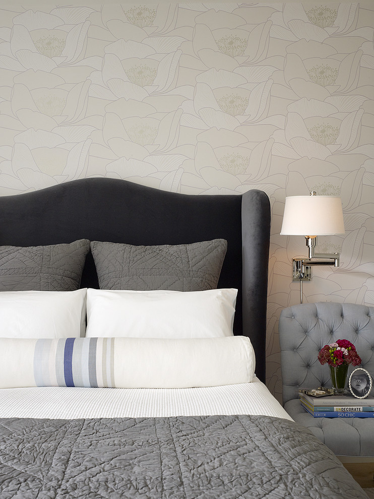 Example of a transitional bedroom design in San Francisco with beige walls