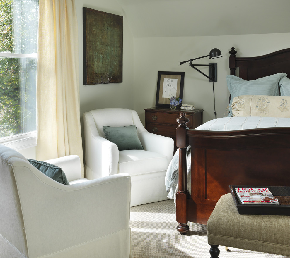 Inspiration for a timeless master carpeted bedroom remodel in Providence with white walls