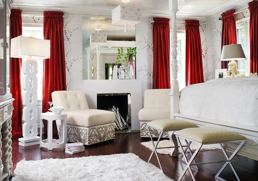 Bedroom - eclectic master dark wood floor bedroom idea in Las Vegas with white walls and a standard fireplace