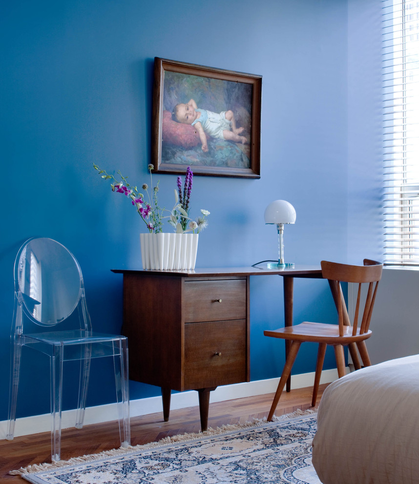 1960s bedroom photo in New York with blue walls