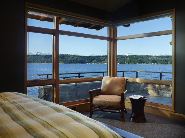 Master Bedroom looking out on Hood Canal rustic-bedroom
