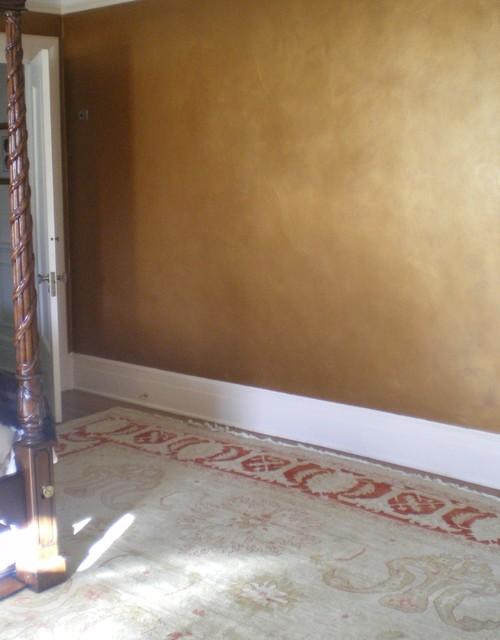 Master bedroom metallic glaze eclectic bedroom new for Gold paint bedroom ideas