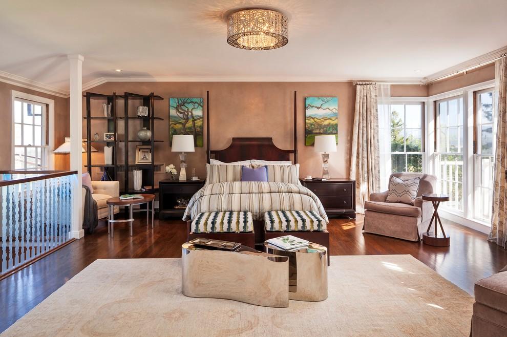 Transitional master dark wood floor bedroom photo in San Francisco with beige walls