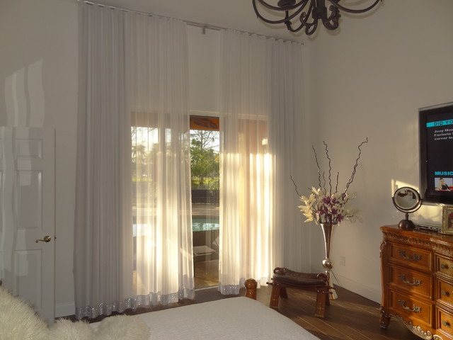 Master Bedroom Modern Ripple Fold Sheer And Blackout Drapes Transitional Bedroom Other